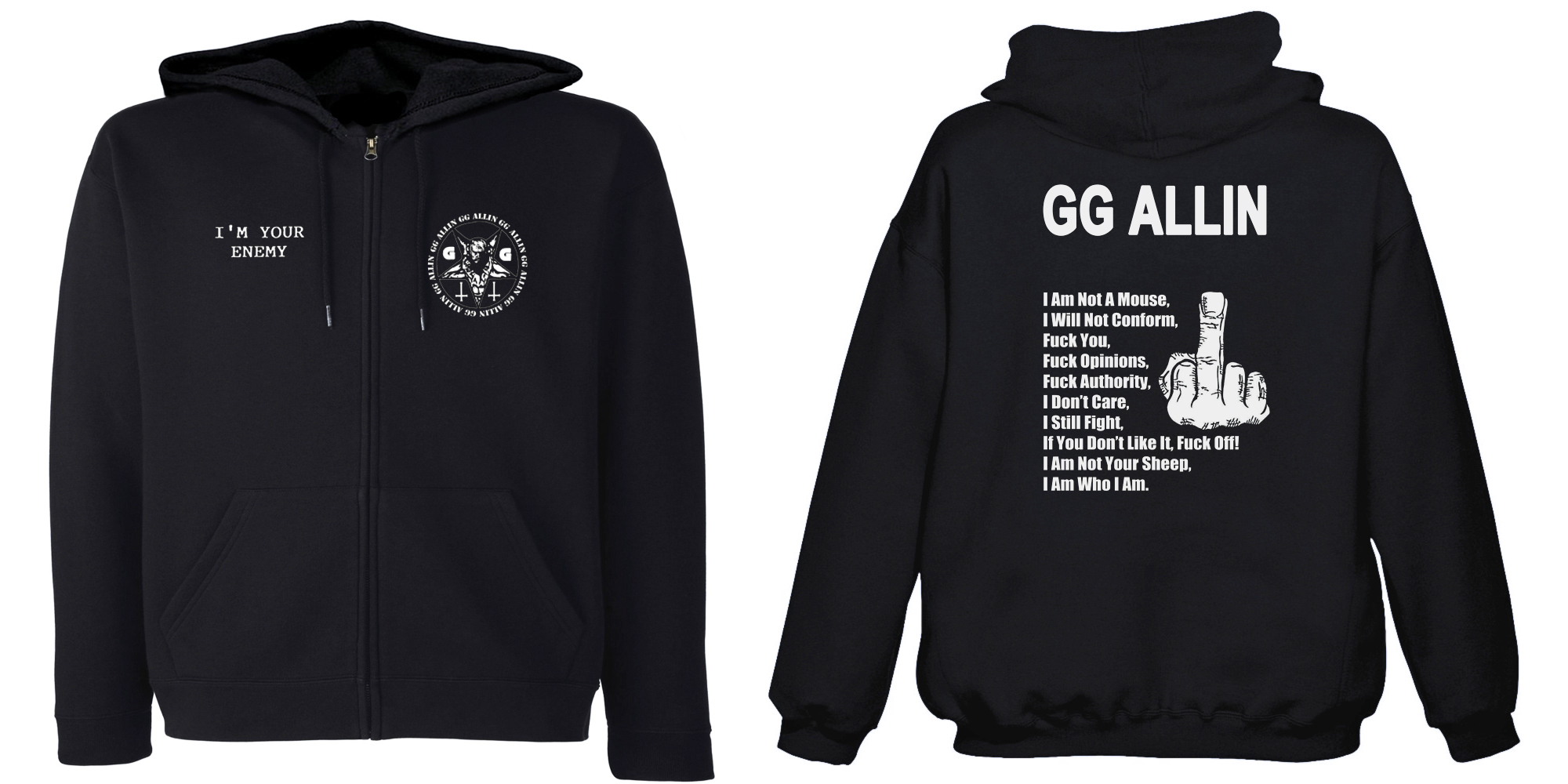 GG Allin - I'm Your Enemy  (Hooded Zipper)