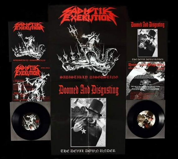 SADISTIK EXEKUTION / DOOMED AND DISGUSTING - SADISTIKLY DISGUSTING/THE DEVIL DOWN UNDER